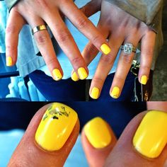 This mani is an amazing way to add a pop of color to your days! Spring Nails, Summer Nails, Gel Polish Manicure, Fancy Nails, Nail Technician, Accent Nails, Mellow Yellow, Glitter Nails, Opi