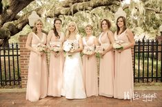 As you can see, the earthy pastel of a moss-draped oak tree complimented Heather's blush pink bridesmaid dresses in a way we didn't think possible. Light Pink Bridesmaid Dresses, Blush Pink Bridesmaids, Junior Bridesmaid Dresses, Wedding Bridesmaids, Bridal Dresses, Wedding Styles, Chic Wedding, Dream Wedding, Wedding Ideas