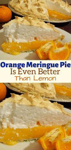 Orange Meringue Pie Is Even Better Than Lemon - Dessert Recipes Mini Lemon Meringue Pies, Lemon Meringue Cheesecake, Orange Meringue Pie Recipe, Cheesecake Bars, Pie Recipes, Sweet Recipes, Baking Recipes, Snack Recipes, Snacks
