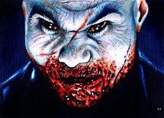Arvin from 30 Days of Night Horror Movie Posters, Horror Movies, 30 Days Of Night, Zombie Art, Vampires And Werewolves, Werewolf, Creepy, Teeth, Sink