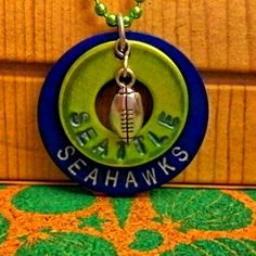 RESERVED Seatle Seahawks Stamped Washer - Block Print