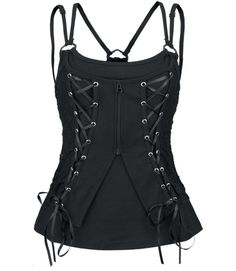 Poizen Industries - Sally Vest Top - Black [SALLY TOP] - £27.49 : Gothic Clothing, Gothic Boots & Gothic Jewellery. New Rock Boots, goth clothing & goth jewellery. Goth boots and alternative clothing