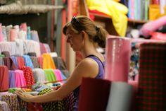 Looking for trendy fabric at Sampeng Lane in BKK
