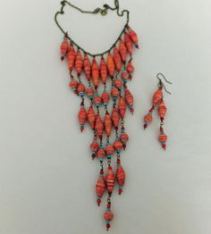 Southwest Bohemian Long Paper Bead Necklace by BeachGirlPaperBeads