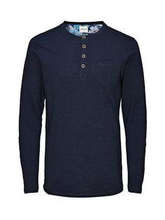 PREMIUM by JACK & JONES - Langärmeliges T-Shirt von PREMIUM - Slim fit - Split Neck - Grobe Ränder - Tasche in Brusthöhe - Umschlag mit Blumen-Print am Ärmel 100% Baumwolle...