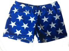 Blue and White Stars Spandex Shorts Spankies Volleyball Dance Cheer Wonder Woman | eBay