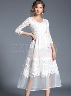Party Embroidered Gauze Splicing Perspective V-neck Three Quarter Sleeve Maxi Dress | Ezpopsy.com