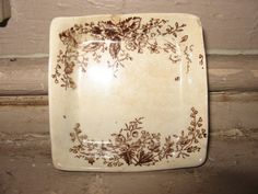 Vintage Square BROWN TRANSFER BUTTER Pat Ironstone England