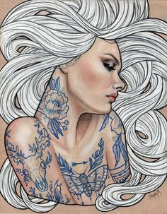i think that would be really cool just like white hair and all your tattoos done it blue ink