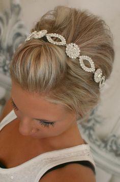 Bridal Headband Bridal Head Piece CRYSTAL Rhinestone by BrassLotus, $38.95