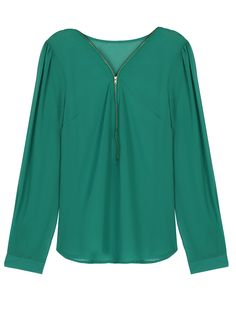 Green Chiffon Zipper Front Long Sleeves Blouse | Choies