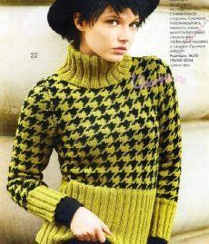 Вязанный пуловер в норвежском стиле с узором Гусиные лапки - Вязание крючком и спицами, схемы | Узорчик.ру