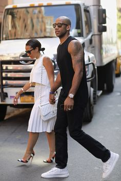 New York Fashion Week SS15 street style…spotted NBA player Dahntay Jones and wife