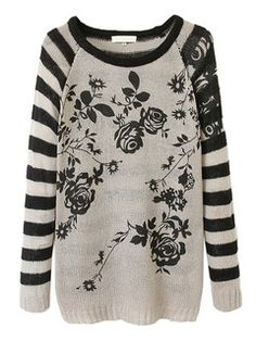 Shop Gray Stripe And Floral Pattern Knit Sweater from choies.com .Free shipping Worldwide.