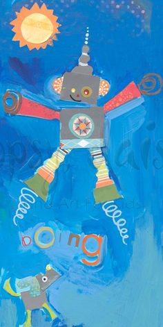 Jumping Robot - Robots & Monsters Canvas Wall Art | Oopsy daisy