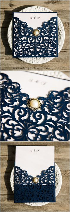 Navy Blue Laser Cut Wedding Invitations   from www.cweddinginvitations.com