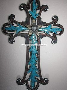 Western Cross Fancy Turqoise Design Hanging Metal Art Picture Wall Decor | eBay