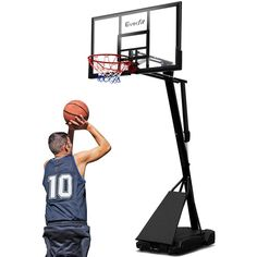 """Pro Portable Basketball Stand System Ring Hoop Net Height Adjustable 3.05M  Only AUD$515.90!   Slam dunk, alley opp or just shooting a few hoops, the Everfit 48"""" Basketball System handles all play like a real pro.    Featuring a mega-tough steel round pole system, the Basketball System can be adjusted to your preferred height of between 2.3m and 3.05m (full regulation height).    The huge 48"""" backboard is made from shatterproof polycarbonate and looks and plays like pro-style glas"""