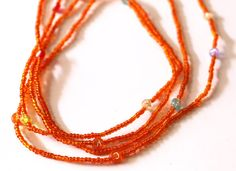 Orange Waist Beads Small Orange Beads African by AfrowearHouse #waistbeads #bodyjewelry #afrowearhouse
