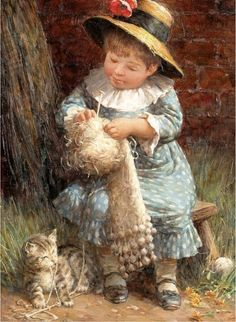 A Little Girl Knitting, Jonathan Guiness (XX Century, English) I AM A CHILD-children in art history blog