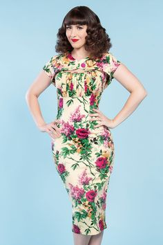 Erika Dress in Cream Floral Print