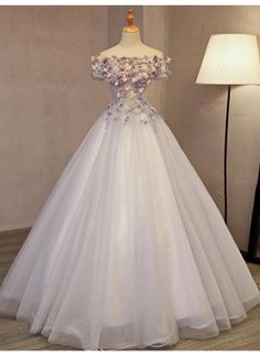 Chic / Beautiful Silver Prom Dresses 2017 Ball Gown Off-The-Shoulder Short Sleeve Appliques Flower Beading Rhinestone Floor-Length / Long Backless Formal Dresses - No Interest Credit Cards - Ideas of No Interest Credit Cards - Long Prom Gowns, Prom Dresses 2017, A Line Prom Dresses, Dress Prom, Dress Long, Long Dresses, Wedding Dresses, Maxi Dresses, Short Prom
