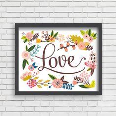 Baby Nusery Decor Art Print Floral Love Design, Nursery Decor Art Print 8x10