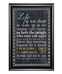 Look at this 'Life Is' Framed Wall Art on #zulily today!