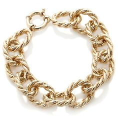 14K Gold Twisted Oval-Link Bracelet