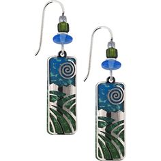 Turquoise glass makes a beautiful background for the silver design elements. Just the right length for work or evening wear.  Made the in U.S.A.
