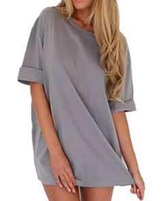 ZANZEA Women's Loose T Shirt Long Tops Beach A-line Dress Casual Blouse Kaftan (UK 14, Gray)