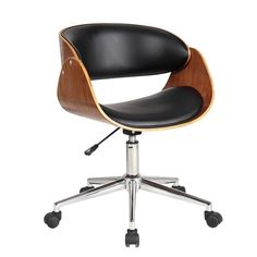 Contemporary computer chair with walnut wood finish and PU seat.