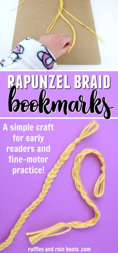 disney crafts Make the Rapunzel braid bookmark for a fun Tangled movie craft. Early readers and those learning to braid will have fun with this easy craft. Rapunzel Film, Rapunzel Braid, Tangled Movie, Disney Crafts For Kids, Diy Gifts For Kids, Crafts For Boys, Toddler Crafts, Spring Arts And Crafts, Arts And Crafts For Adults
