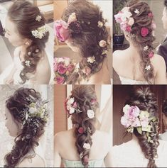 * ***************** down do styles… Wedding Tiara Hairstyles, Party Hairstyles, Bride Hairstyles, Wedding Party Hair, Hairdo Wedding, Floral Hair, Floral Crown, Asian Inspired Wedding, Curly Hair Problems
