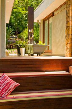 The ultimate luxury: an outdoor clawfoot tub. See the full Australian home tour here at Sneak Peek: Rachel Bending of Bird Textiles. #sneakpeek