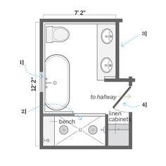 Floor Plan: Ian Worpole | thisoldhouse.com | from A DIY Attic Master Bath Retreat