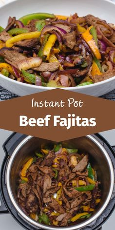 Let's go to Mexico with this Instant Pot Fajitas Recipe! With yummy melted Cheddar cheese, salsa, guacamole and beef cooked with Mexican spices all th Chicken Fajita Rezept, Beef Fajita Recipe, Homemade Fajita Seasoning, Beef Recipes, Chicken Chalupa, Chicken And Beef Recipe, Smoker Recipes, Chicken Recipes, Recipies