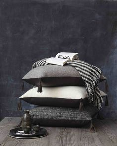Wool & leather pillows | handmade Mexican textiles and home goods via Onora