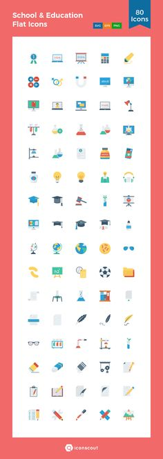 School & Education Flat Icons  Icon Pack - 80 Flat Icons