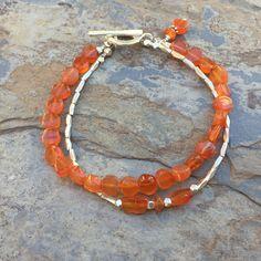 Carnelian Bracelet, Double Stranded Bracelet, Carnelian and Hill Tribe Silver, 7.5 inches long. by EastVillageJewelry on Etsy
