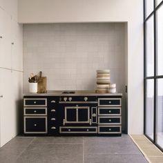 Kitchen  La Cornue Range & White Square Tile Back Splash vincent-van-duysen-pot-remodelista