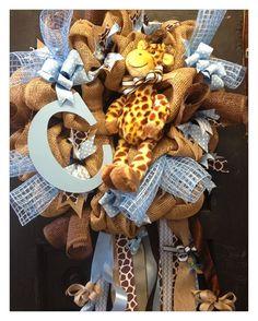 Baby boy door wreath by HolidayDressings on Etsy, $85.00
