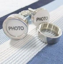 Picture Locket Funny Cufflinks - Awesome silver cufflinks to put yours and your bride's photo on your wedding day.