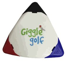 A permanent golf ball marker in one convenient component. Identify your golf ball with our quick drying, waterproof ink. Super permanent ink stays on in wet or dry conditions. Also ideal for marking clubs, bags, shoes, and other equipment. White body with black, red and blue markers. Comes with Giggle Golf logo - Please contact us if you want to customize these with your tournament logo or theme.