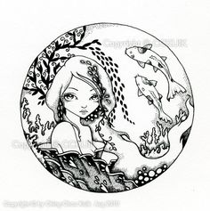 The Koi  -   Original Black and White Illustration by CCKUIK