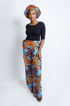 The culottes trousers are also trendy and beautiful in Ankara prints. I also could not help it but include this top and culottes trouser. African Print Skirt, African Print Clothing, African Print Dresses, Trouser Pants, Trousers Fashion, Dashiki, Traditional Outfits, African Fashion, Matching Set