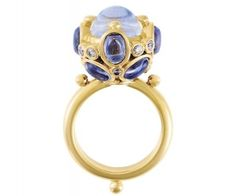 18K Blue Moonstone and Tanzanite Cluster Ring - Temple St. Clair