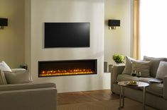 The Gazco Radiance Edge inset electric fire is perfect for customers looking for a modern, stylish hole-in-the-wall fire. Offered in a choice of four impressive landscape size Inset Fireplace, Tv Above Fireplace, Home Fireplace, Modern Fireplace, Living Room With Fireplace, Fireplace Design, Fireplace Pictures, Fireplaces, Inset Electric Fires