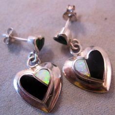 Estate Sterling Opal Onyx Malachite Heart by BrightEyesTreasures, $24.99
