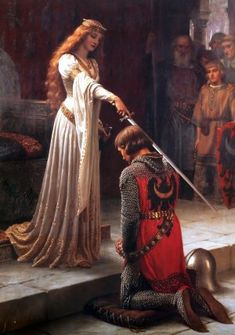 """The Accolade"" by Edmund Blair Leighton. This painting has been mistakenly attributed to John William Waterhouse, however, when put beside ""God Speed"" you can tell it is a Blair-Leighton and not a Waterhouse. Pre Raphaelite Brotherhood, Medieval, John William Waterhouse, William Waterhouse, Pre Raphaelite, Painting, Arthurian, Pre Raphaelite Art, Beautiful Art"